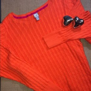 JCP Orange Cable Knit Sweater Size 2X